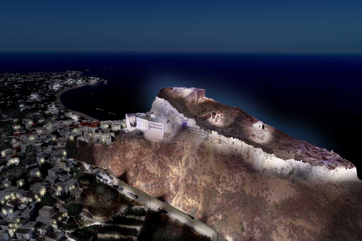 Skyros medieval castle lighting design